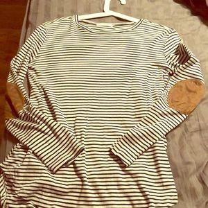 Cherish navy and white striped LS shirt